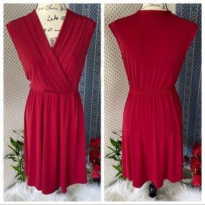 41 Hawthorn Elastic Waist Pleated Burgundy Dress